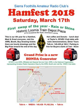 Hamfest 2018 – March 17, 2018 – Loomis, CA 7am – noon